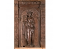 Relieve de sillería de coro de nogal tallado virgen con niño, castilla s.xvi
