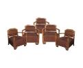 Conjunto de cinco sillones de madera de terciopelo Art Deco. Década de 1980