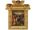 Escuela colonial del Siglo XVII. Virgen con niño y marco con ángeles