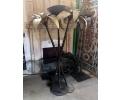 Lámpara de pie realizada en hierro con pareja de palmeras. Década de 1980.