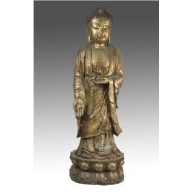 Escultura de buda oriental en bronce