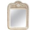Espejo con marco de mimbre blanco español de los 80