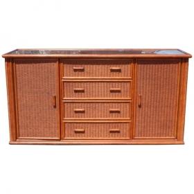 Consola de madera y ratán...