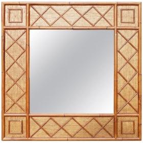 Espejo cuadrado de bambú y...
