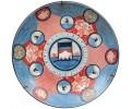 Plato de porcelana japonesa pintada a mano con escenas típicas.  Siglo XIX