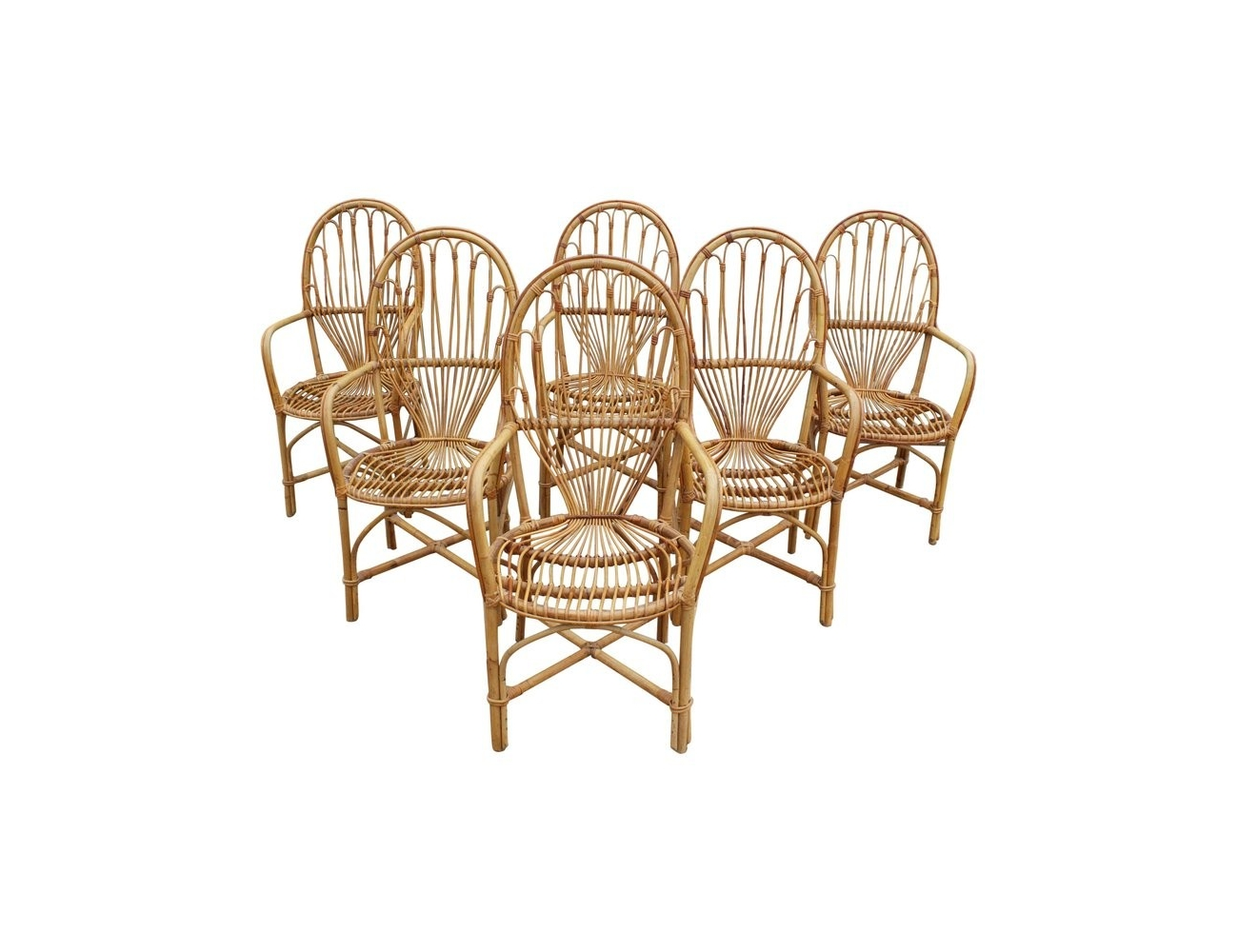 1970s Set Of Six French Handcrafted Bamboo And Wicker Chairs