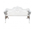 1980s Cast Aluminium Solid Metal White Garden Bench with Grapes Flower Garlands