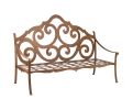 1990s French Iron Garden Bench Painted in Ochre