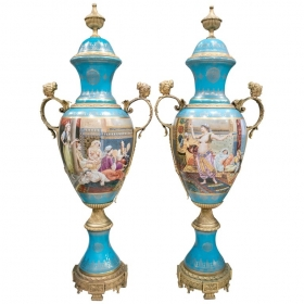 Pair of tall porcelain urns...
