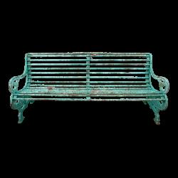 Green Wrought Iron Bench