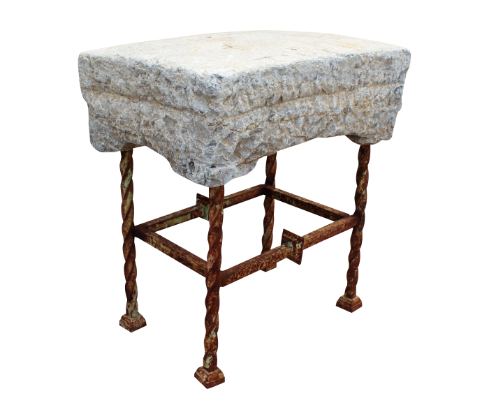 Small Marble Stool with Iron Base