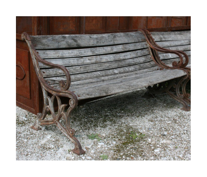 Cast Iron Bench with Wooden Seat and...