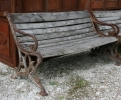 Cast Iron Bench with Wooden Seat and Back Planks